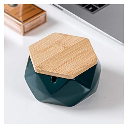 Cenicero geométrico de cerámica para fumar, cenicero de cigarrillo portátil con personalidad de moda para decoración del hogar, oficina, regalos, cenicero de moda (color: verde, tamaño: con tapa)