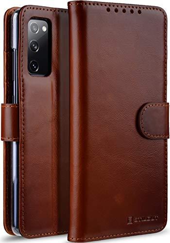 StilGut Talis kompatibel mit Samsung Galaxy S20 FE Hülle mit Kartenfach aus Leder, Flip Cover, Wallet Hülle, Lederhülle mit Fächern, Standfunktion und Verschluss - Cognac Antik