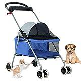 Pet Stroller 4 Wheels Posh Folding Waterproof Portable Travel Cat Dog Stroller with Cup Holder,Blue