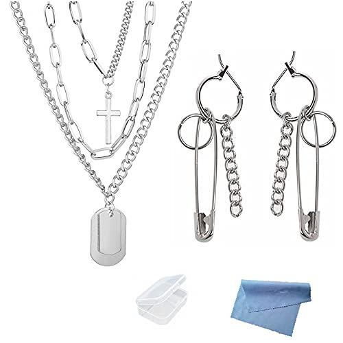 XHBTS Collar de cadena de plata con colgante de cruz en capas y delicado, estilo punk, con cadena de plata, collar de cadena gruesa con mini paño y mini caja