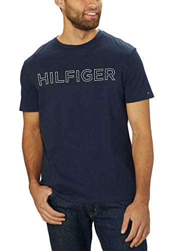 Tommy Hilfiger Mens Crew Neck Short Sleeve T-Shirt (Navy Blazer, X-Large)