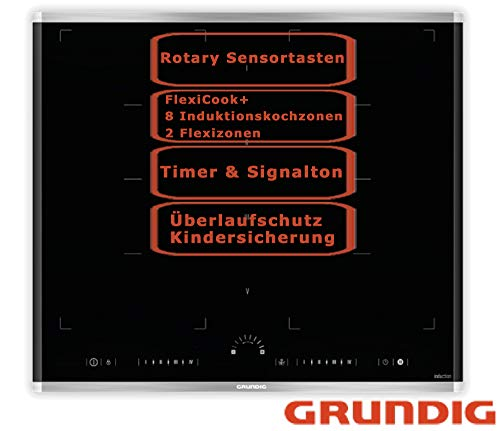 Grundig Induktionskochfeld FlexiCook Flächeninduktion Timer Sensorsteuerung 58cm