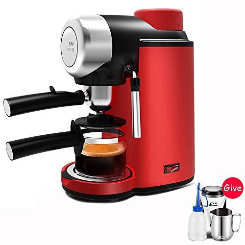GJJSZ Kaffeemaschine,elektrische Filter-Espresso-Kaffeemaschine Italienischer halbautomatischer Hochdruckdampf 5bar Cappuccino-Milchschaum-Rot