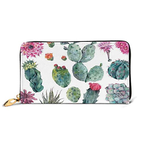 Women's Long Leather Card Holder Purse Zipper Buckle Elegant Clutch Wallet, Desert Botanic Herbal Cartoon Like Cactus Plant Flower with Spikes Print,Sleek and Slim Travel Purse