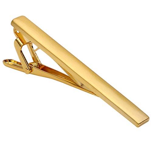 SUNSKYOO Herren Krawattenklammer Titan Stahl Einfach Langlebig Mode Skinny Style Business Accessoires, Gold gebürstet