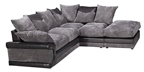Daisy Divano angolare con bracciolo a destra, con poggiapiedi, in tessuto, colore nero e grigio