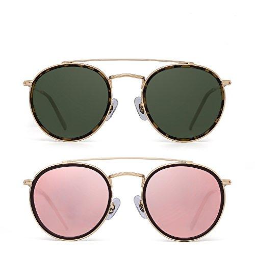 JIM HALO Runden Polarisiert Sonnenbrille Metall Rahmen Flach Kreis Linse Brille Damen Herren 2 Stück(Grün&Pink)