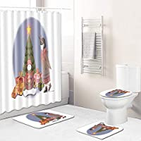 12フック+バスマット+トイレふたカバー+ノンスリップマット、漫画少女と雪だるまのシャワーカーテンセット浴室の装飾用防水簡単にきれいなバスカーテン、 Girl2-45*75cm