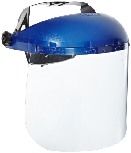 Sellstrom Single Crown Safety Face Shield with Ratchet Headgear, Clear Tint, Uncoated, Blue, S39110