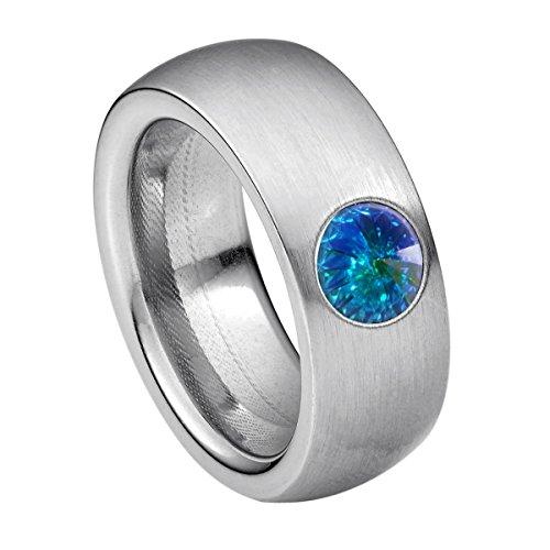 Heideman Ring Damen Coma 8 aus Edelstahl Silber farbend matt Damenring für Frauen mit Swarovski Stein Kristall Aurore boreale Opal im Fantasie Edelsteinschliff 6mm