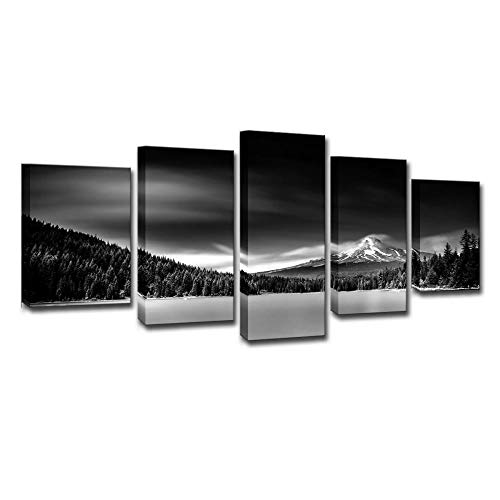 BIOAOUA 5 Piece Canvas Wall Art5 Pieces Of Wall Art Black And White Landscape Home Modern Canvas Art Print Canvas Modern Home Living Room Decoration Oil Painting-A-No Frame_200X100cm