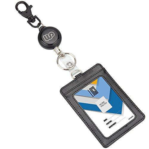 IDカードホルダー リール式 縦 Wisdompro PU革 両面ポケット 社員証・名札・定期入れ・パスケース 伸縮タイプ ネームホルダー ブラック