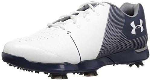 Under Armour Boys' Spieth 2 Junior Golf Shoe, White (100)/Academy, 5.5