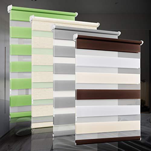 bobodeco Doppelrollo klemmfix ohne Bohren Duo Rollos für Fenster mit Klemmträger, Fensterrollo lichtdurchlässig & verdunkelnd Wandmontage Sichtschutz- Weiß Creme Braun,70x200cm (BxH)