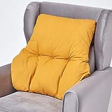 HOMESCAPES Cojín Lumbar ergonómico, cojín de posicionamiento de Respaldo de algodón, para Silla, sillón y automóvil, Amarillo Mostaza, 58 x 68 x 15 cm