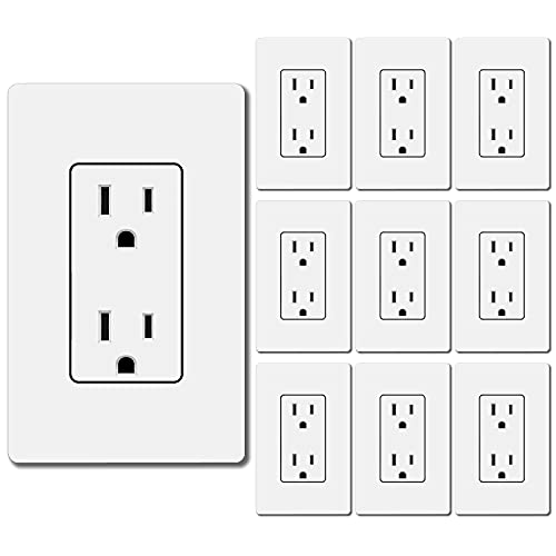 [10 Pack] BESTTEN 15A Decor Wall Receptacle, Standard Electrical Wall Outlet, Decorator Wallplate Included, UL Listed, White