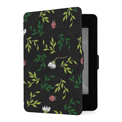 Kindle Paperwhite 1 2 3 Case, Embroidery Floral Seamless Pattern Chamomiles Ladybug Pu Leather Case Cover With Smart Auto Wake Sleep For Amazon Kindle Paperwhite(fits 2012, 2013, 2015 Versions)