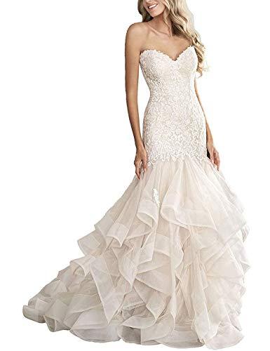 HUINI Meerjungfrau Brautkleider Abendkleider Trägerlos mit Herzausschnitt Hochzeitskleider Schulterfrei Lang Tüll und Spitze Elfenbein 40