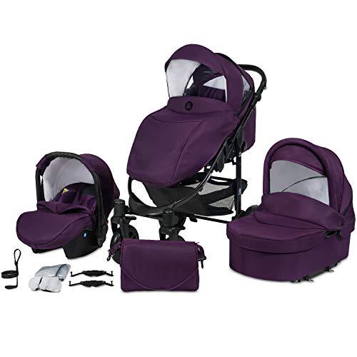 Poussette Combinée Trio 3 en 1 B&W – Violet - Nouveau Design - Landau, poussette promenade, siège auto Groupe 0 - Livrée avec ses accessoires.