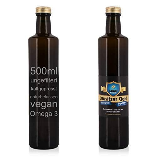 Lausitzer Leinöl - Lausitzer Gold (kaltgepresst ungefiltert Omega 3 Öl kaltgepreßtes Premium Leinöl), 500ml