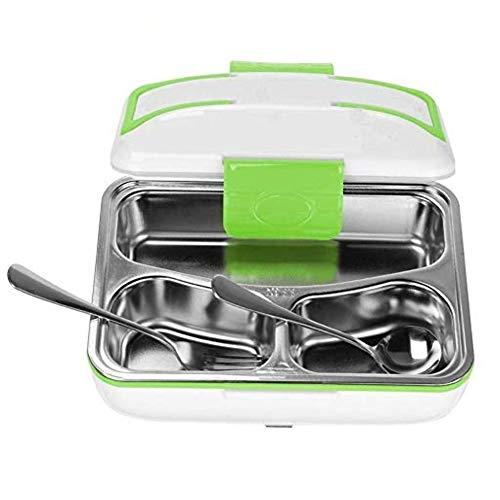 Scaldavivande elettrico 3 scomparti vaschetta acciaio inox estraibile con chiusura sigillante portatile box portavivande termico Lunch Box PP Plastica Caso Per Campeggio Casa Ufficio HB01