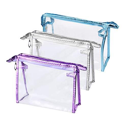 3 piezas Transparente Neceser,Bolsa de AseoImpermeable,transparente de vinilo organizador de maquillaje con cremallera,bolsa de lavado para vacaciones, accesorios de viaje