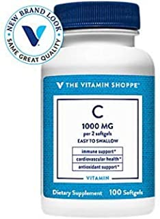 The Vitamin Shoppe Vitamin C 1,000MG, Easy to Swallow, Antioxidant That Supports Immune and Cardiovascular Health (100 Sof...