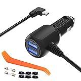 Chargeur de voiture pour Garmin GPS Nuvi, Aqhqua Garmin GPS Auto Power Adapter chargeur, câble mini USB intégré câble...