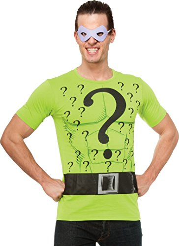 Rubie's DC Comics Justice League Superhero Style Adult Top and Mask The Riddler, Green, X-Large