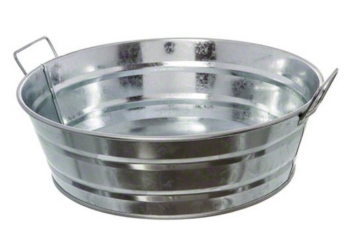 American Metalcraft MTUB10 Natural Galvanized Steel Tub with Side Handle, 88-Ounce, 10' Diameter, Silver