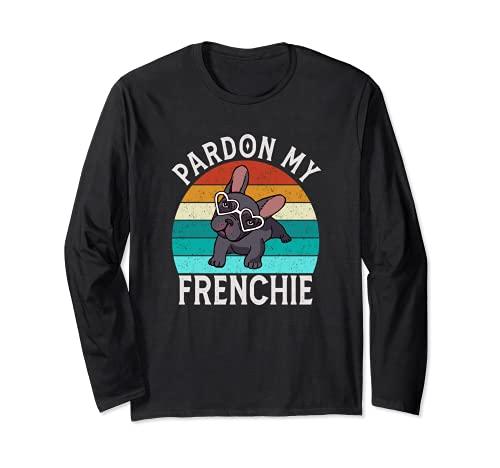 Vintage Pardon My French Heart Frenchie Yoga French Bulldog Long Sleeve T-Shirt