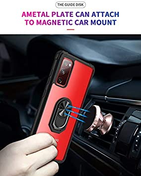 FollmeAir for Galaxy S20 FE 5G Case Galaxy S20 Fan Edition Case,Clear Rugged PC Back and Soft TPU Shockproof 360/°Rotating Ring Kickstand Case Cover Fit for Magnetic Car Mount Black