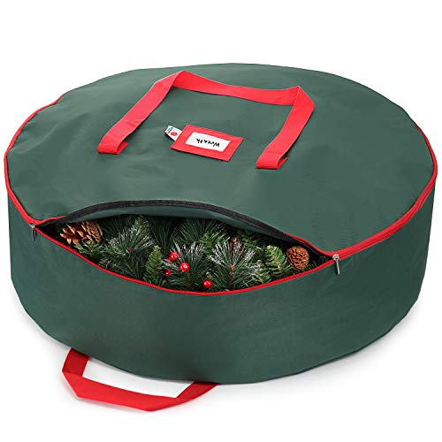 StorageMaid Wreath Storage Container Bag - 30-Inch Wreath Storage Box for Artificial Wreaths - Christmas Decoration Storage Made from Waterproof, Tearproof Material with Handles & Zipper