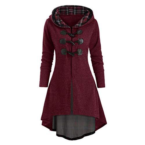 Damen Plus Size Long Sleeve Plaid Horn Button Lace Up High Low Hooded Blouse Mantel Jacken Hoodie Kapuzenpullover Mit Kapuzen