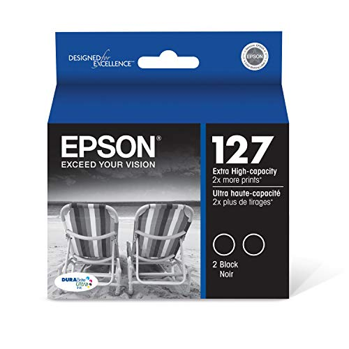 EPSON T127 DURABrite Ultra Ink Standard Capacity Black Dual Cartridge Pack (T127120-D2) for select Epson Stylus and WorkForce Printers