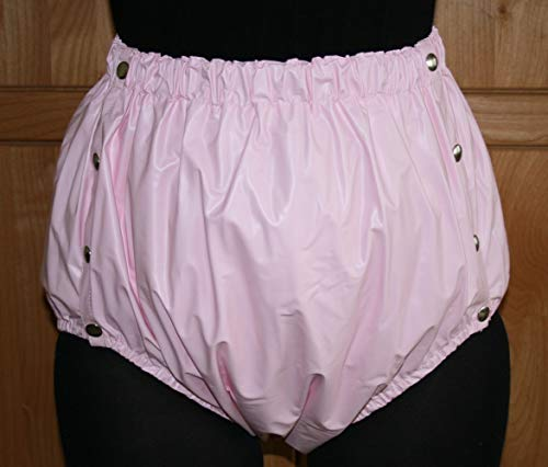 PVC Adult Baby Inkontinenz Knöpfer Windelhose Gummihose rosa (2XL)