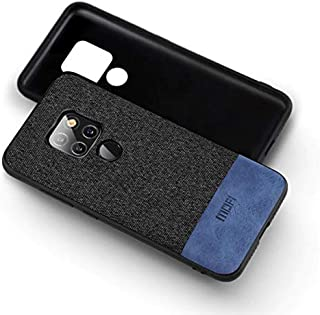 MOFI Huawei Mate 20 Case, Blue Leather Black Fabric, Flexible Frame