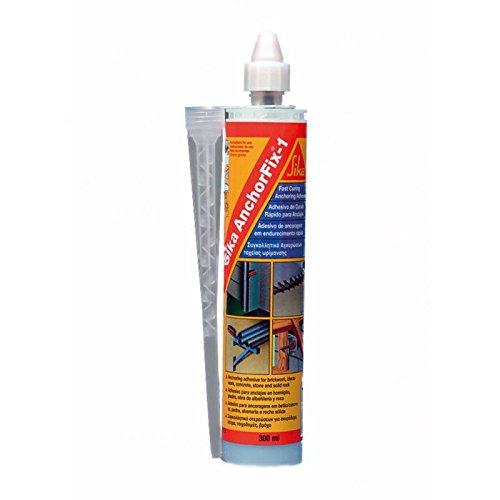 Sika Anchorfix-1, Gris claro, Adhesivo de curado rápido para anclajes para redondos de acero corrugado, varillas roscadas, pernos y sistemas de sujeción especiales, 300 ml