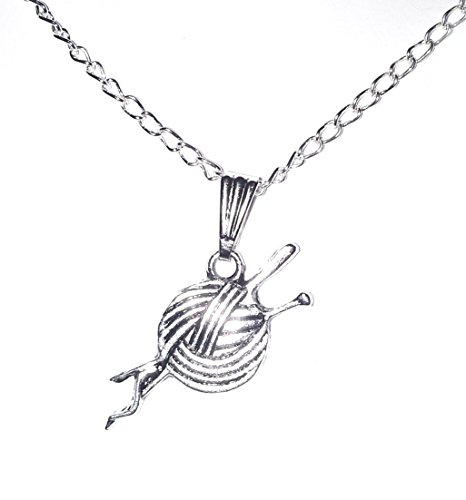 Juicy Jewellery Quirky Silver Knitting Needle & Wool Necklace Chain + Gift Bag