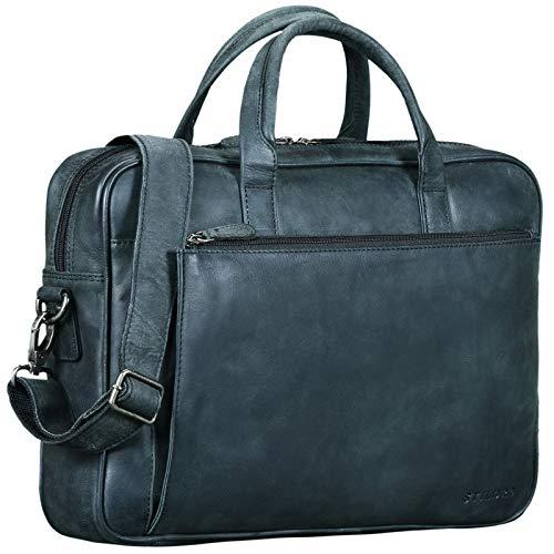 STILORD 'Phoenix' Vintage Businesstasche Leder mit Schultergurt für MacBooks 13,3 Zoll Laptoptasche Elegante Umhängetasche Aktentasche aufsteckbar, Farbe:anthrazit