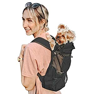 K9 Sport Sack | Dog Carrier Backpack for Small and Medium Pets | Front Facing Adjustable Dog Backpack Carrier | Fully Ventilated | Veterinarian Approved (X-Small, Air – Jet Black)