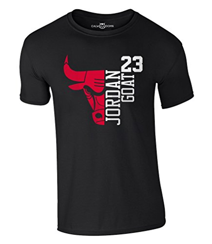 Jordan T-Shirt 23 Goat Chicago Bulls Michael Basketball Shirt (M, Schwarz)