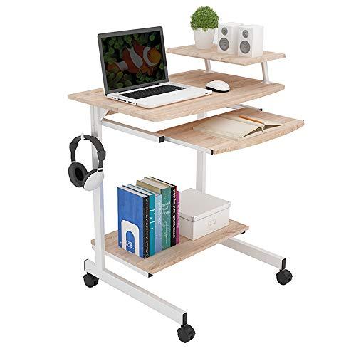 ZR- Escritorio de la computadora de escritorio del hogar móvil Mesa de escritorio del ordenador portátil Escritorio de aprendizaje infantil Ahorre espacio Estante de almacenamiento 70 * 48 * 8