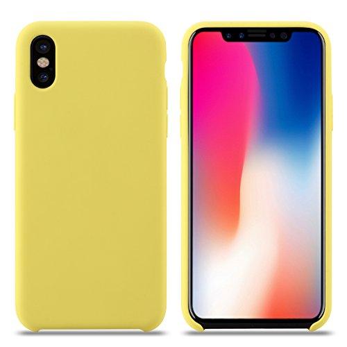 Funda iPhone X, Slim Líquido de Silicona Gel Carcasa Anti-Rasguño y Resistente Huellas Dactilares Totalmente Protectora Caso Cover Case para Apple iPhone X.(X 5.8, Amarillo)