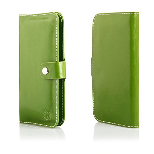 MOELECTRONIX HQ Buch Tasche GRÜN Klapp Schutz Hülle Wallet Flip Hülle Etui passend für Lenovo K6 K33a48