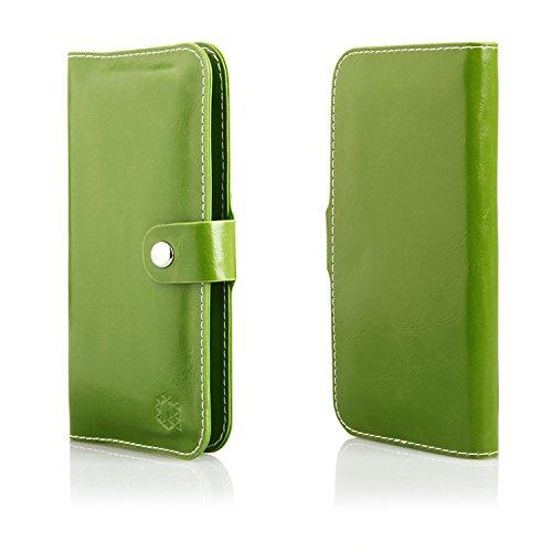 MOELECTRONIX HQ Buch Tasche GRÜN Klapp Schutz Hülle Wallet Flip Case Etui passend für InFocus M808