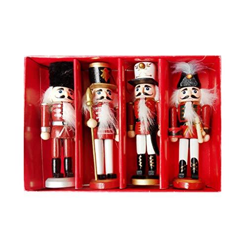 Eliky 4-delig/set miniatuurfiguren hout notenkraker soldaat vintage handwerk pop wooncultuur Nieuwjaar kerstversiering