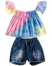 Camiseta Tie Dye con Camiseta de Manga Corta con Volantes y Shorts de Mezclilla para bebé niña