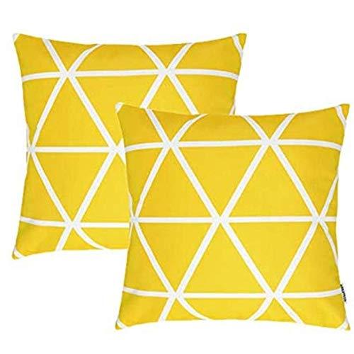 TIDWIACE Fundas de Cojín, Funda de Almohada Lino de algodón Decorativa Geometría Moderna Funda de Cojín 45x45cm para Sala de Estar sofás Camas sillas Dormitorio Jardín Coche (Amarillo Set de 2
