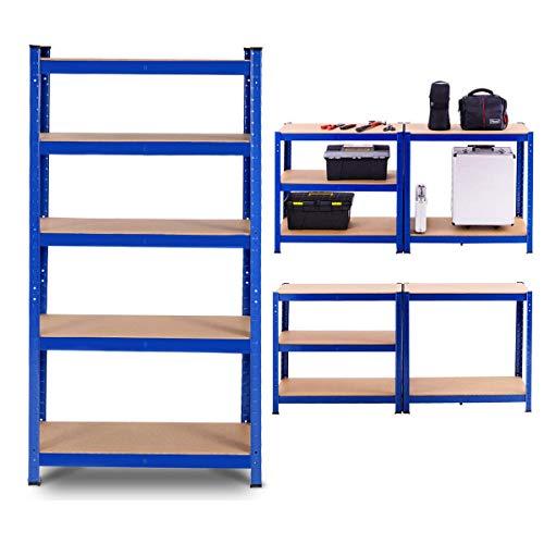 Tangkula Metal Storage Shelves, Heavy Duty Steel Frame 5-Tier Organizer, High Weight Capacity with Adjustable Shelves, Multi-Use Storage Rack for Home Office Garage,Storage Metal Shelf (1, Blue)